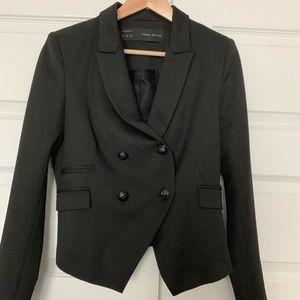 Zara cropped tuxedo jacket blazer large